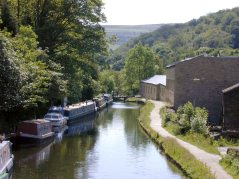 Canal running through Hebden Bridge